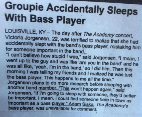 Sleep with bass player article